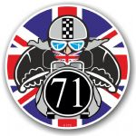 Year Dated 1971 Cafe Racer Roundel Design & Union Jack Flag Vinyl Car sticker decal 90x90mm